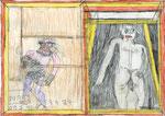 Josef Hofer, ohne Titel, XI 2013, Bleistift und Farbstifte auf Papier, 29,6 x 42 cm, verfügbar / disponible / available: Galerie Christian Berst, Paris