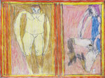 Josef Hofer, ohne Titel, X 2009, Bleistift und Farbstifte auf Papier, 44 x 60 cm, Collection abcd, Montreuil