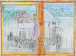 Josef Hofer, ohne Titel, X 2013, Bleistift und Farbstifte auf Papier, 44 x 60 cm, verfügbar / disponible / available: Elisabeth Telsnig, Elsbethen