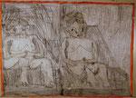 Josef Hofer, ohne Titel, X 2014, Bleistift und Farbstifte auf Papier, 50 x 70 cm, verfügbar / disponible / available: Galerie Christian Berst, Paris