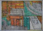 Josef Hofer, ohne Titel, IV 2004, Bleistift und Farbstifte auf Papier, 29,6 x 42 cm, Privatbesitz / propriété privée / private property