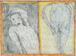 Josef Hofer, ohne Titel, IV 2014, Bleistift und Farbstifte auf Papier, 45 x 60,6 cm, verfügbar / disponible / available: Galerie Christian Berst, Paris