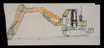 Josef Hofer, ohne Titel, vor 2000, Kugelschreiber, Wasserfarben und Filzstifte auf Papier, 12,5 x 29 cm, nicht verfügbar / pas disponible/ not available