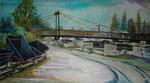 Geesthachter Brücke m. historischen Loren 50x86 cm Acryl/Lwd.