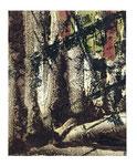 © Manfred Schidlo 2014/18; Blick in den Wald; Monotypie, Kreide