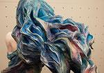 少女 約60×150cm 石粉粘度/アクリル絵の具
