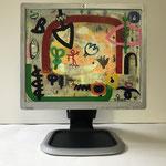 Erste-Klasse-Freund | 2019 | Monitor, acrylic paint, oil paint, oil pastel | 30,1 × 37,6 cm