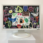 Schloss-Flora | 2019 | Monitor, acrylic paint, oil paint, oil pastel | 29,7 × 47,3 cm