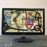Gefangener Engel   2019   Monitor, acrylic paint, oil paint, oil pastel   28,6 × 51 cm