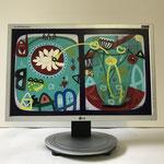 Haus 1952 | 2019 | Monitor, acrylic paint, oil paint, oil pastel | 27,2 × 43,5 cm