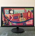 Stadtbach Bümpliz | 2019 | Monitor, acrylic paint, oil paint, oil pastel | 27 × 47,8 cm