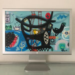 Fellergut2 | 2020 | Monitor, acrylic paint, oil paint, oil pastel | 27,3 × 43,5 cm