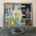 Schattenbaum | 2019 | Monitor, acrylic paint, oil paint, oil pastel | 30,3 × 37,7 cm