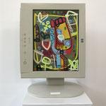 Grüne Zone | 2019 | Monitor, acrylic paint, oil paint, oil pastel | 30,7 × 23 cm