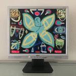 Schutzengel Häuser | 2020 | Monitor, acrylic paint, oil paint, oil pastel | 27,1 × 34 cm