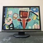 Mutters Garten | 2019 | Monitor, acrylic paint, oil paint, oil pastel | 29,7 × 47,5 cm