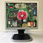 Liebste Mohnblume   2019   Monitor, acrylic paint, oil paint, oil pastel   30 × 37,5 cm