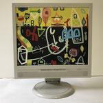 Liebkosung | 2019 | Monitor, acrylic paint, oil paint, oil pastel | 27,1 × 33,8 cm