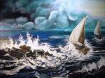Acryl auf Leinwand   ~   Segeln im Sturm   ~   80 x 60 cm