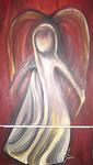 Acryl auf Leinwand  ~   Ein roter Engel  zweiteilig ~  50 x 80 cm + 50 x 30 cm