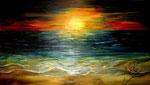 Öl auf Leinwand ~ Sonnenuntergang ~  beiter Rand     ~   100m x 60 cm