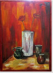 Acryl auf Leinwand   ~   Still-Leben mit Klatschmohn   ~  70 x 100 cm