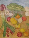 Kraut und Rüben mit Zitronen, 70 x 60, Acryl und Öl auf Molino