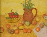 Krug, Mandarinen und Papier, 30 x 24, Acryl u. Öl auf Molino