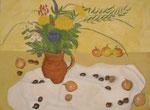 Blumen, Zwiebel und Kastanien, 40 x 30, Acryl und Öl auf Mollino