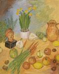 Tonkopf, Narzissen, Karotten, 2015, 30 x 245, Acryl und Öl auf Mollino