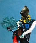 Chevalier/moteur - acryl, huile, cheveux et poussières sur toile - 150 x 125 cm - n°18/2007