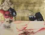 Sans titre au pont - gouache, encre et feuille d'or sur parchemin (agneau) - 36 x 47 cm, 2019