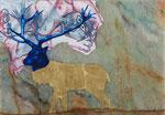 Cerf et morceau de Picasso - huile et feuille d'or sur marbre Portofino - 29 x 42 cm - n°13/2014