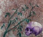 Vanité - huile et feuille d'argznt sur marbre Portofino - 35 x 40 cm - n°14/2014