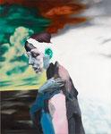 Portrait mélodramatique I (Pauline) - huile, acryl et cheveux sur bois - 125 x 95 cm - n°1/2010