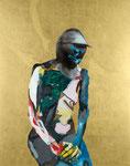 Chevalier (féminin) - huile, acryl et feuille d'or sur bois - 155 x 122 cm - n°30/2008 - Musée des Beaux-arts de Nantes