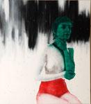 Anne fond noir/blanc - acryl, cheveux et poussières sur toile - 117 x 102 cm - n°3/2007