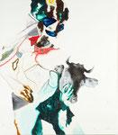 Figure à la tête de vache négatif I - acryl, cheveux et poussières sur toile - 117 x 102 cm - n°17/2008