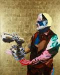 Portrait de J-P. B. (chocolatier) - huile, acryl et feuille d'or sur bois - 150 x 120 cm - n° 21/2010