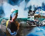 Paysage avec Pauline - huile, acryl et cheveux sur dibond - 120 x 150 cm - n° 1/2013