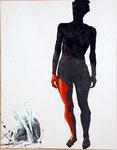 Nu rose ( Clémentine) - acryl, tempéra, cheveux et poussières sur toile - 173 x 135 cm - n° 5/2006