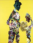 Double portrait avec Pauline (jaune) - acryl et huile sur toile - 178 x 139 cm - n° 2/2006