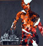 Personnage avec la Villa Savoye en feu - huile et acryl sur toile - 154 x 147 cm - n° 16/2006