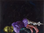 I say, you say VII  (chevalier gisant) - huile, acryl et cheveux sur bois - 90 x 120 cm - n°8/2010