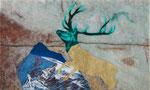 Grimpant sur la montagne- huile et feuille d'or sur marbre Portofino - 29 x 48 cm - n°9/2014