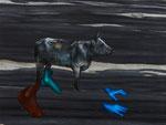 Nocturne avec Europe - acryl, huile, perles et pièce de monnaie sur Carrare noir - 45 x 60 cm - n`12/2014