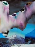 Paysage (avec des yeux) - huile sous verre - 91 x 71 cm - n° 28/2014