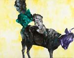 Europe n°3 - huile, acryl et cheveux sur toile - 135 x 172,5 cm - n°11/2011