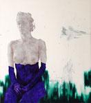 Clémentine violette et F-15 Eagle - acryl, cheveux et poussières sur toile - 117 x 102 cm - n°4/2007