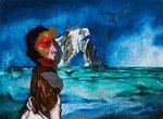Petite figure avec paysage - huile et acryl sur bois - 44 x 61 cm - n°2/2014